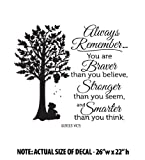 BRAVER than you believe, STRONGER than you seem, SMARTER than you think LARGE Wall Décor Sticker Vinyl Decal - Winnie the Pooh Quote