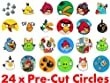 24 x 38mm Pre Cut Circle Angry Bird Birds Fairy Muffin Cup Cake Toppers Decoration Edible Rice Wafer Paper