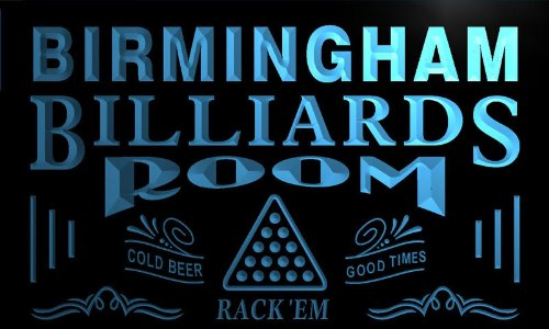 Pj2147-B Birmingham Billiards Room Rack 'Em Bar Beer Neon Light Sign