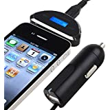 Insten FM Transmitter with USB Car Charger for Smartphone, MP3 MP4 and Any Audio Player with 3.5mm Jack Including iPhone Samsung Galaxy HTC Motorola Nokia iPod Nexus and More, Black