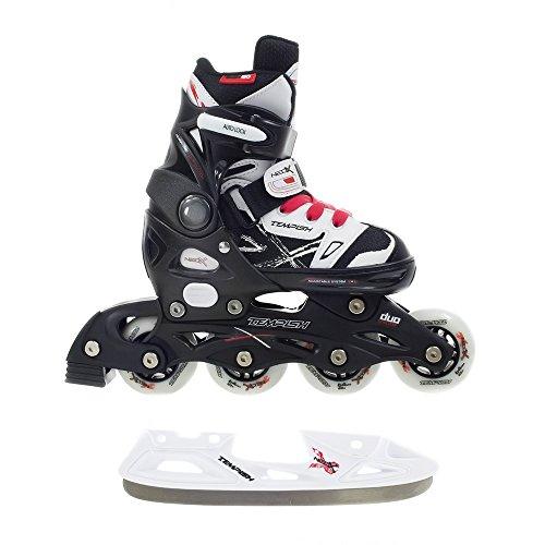 2in1-Schlittschuhe-Inlineskates-ABEC-5-rot-schwarz-wei-Gr-29-32-33-36-37-40-verstellbare-Kinder-Skates