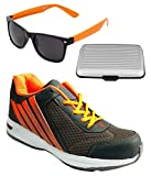 Spot On Men's Dark Grey Orange Running Shoes With Lotto Sunglasses And Cardholder Combo UK-10