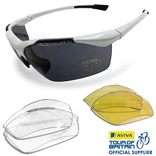 VeloChampion Tornado Sonnenbrille, Weiß, mit 3er-Set austauschbarer Gläser und weichem Etui - Sunglasses Cycling Running Golf Sports