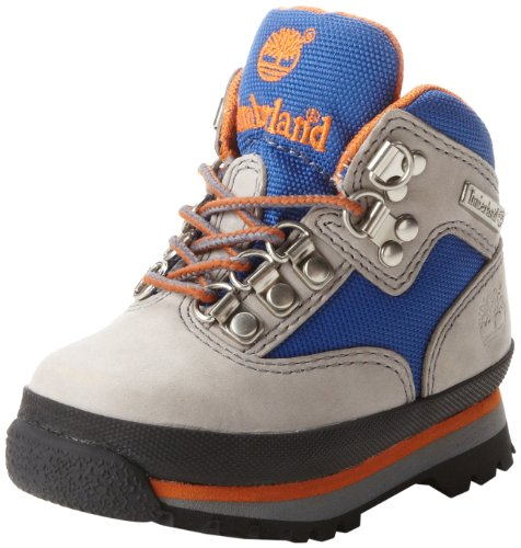 Timberland Euro Hiker Leather And Fabric Boot (Toddler/Little Kid/Big Kid),Grey/Royal,2 M Us Little Kid