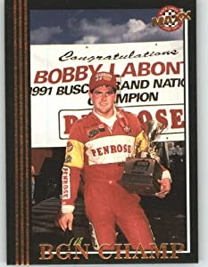 1992 Maxx Black Racing Card # 91 Bobby Labonte BGN Champ - NASCAR Trading Cards by Maxx