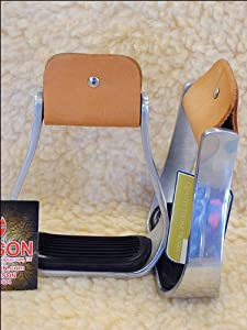 Hilason Western Horse Saddle Aluminium Bell Stirrups With Black Pad