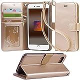 (Arae) iphone 7 手帳型な保護ケース RoHS規格認定書を取得した スタンド機能付き 高級感PUレザーケース マグネット内蔵 ストラップ付き 財布型カーバ カードポケット付き おしゃれなスマーホケース  (シャンパンゴールド)