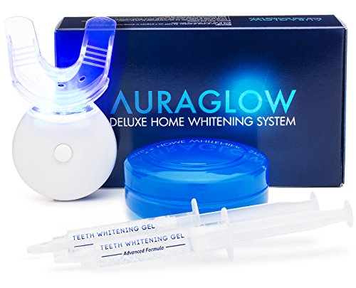 AuraGlow Teeth Whitening LED Light Kit, Carbamide Peroxide, 2 5ml Gel Syringes, Mouth Tray and Case