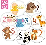 24-Pack-of-4-Premium-Baby-Monthly-Stickers-By-KiddosArt-1-Happy-Animal-Sticker-Per-Month-of-Your-Babys-First-Year-Growth-and-Holidays-Month-Sticker-for-Baby-Boy-or-Girl-Milestone-Onesie-Stickers