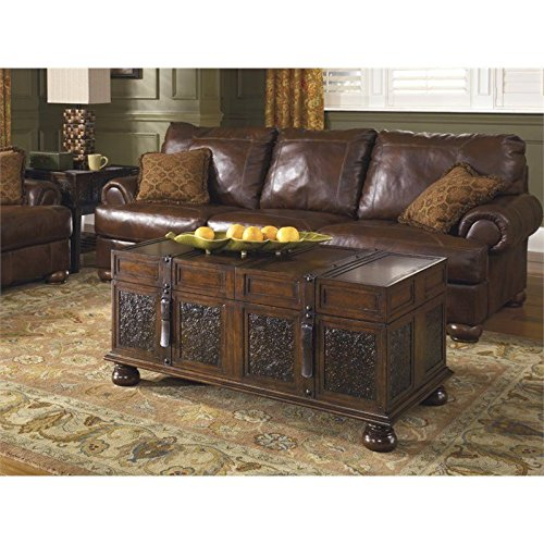 Gracelove Dark Brown Rectangular Cocktail Coffee Table Vintage Traditional Living Storage 0