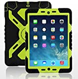 Hot Newest Ipad 2/3/4 Case Silicone Plastic Kid Proof Extreme Duty Dual Protective Back Cover with Kickstand and Sticker for Ipad 4/3/2 - Rainproof Sandproof Dust-proof Shockproof (BLACK-YELLOW GREEN)