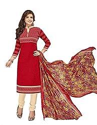 Khushi Trendz Cotton Red Unstitched Salwar Suit