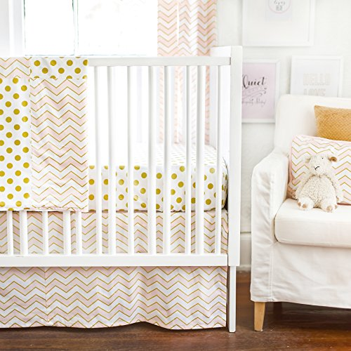 New Arrivals 2 Piece Crib Bed Set, Gold Rush in Pink - 1