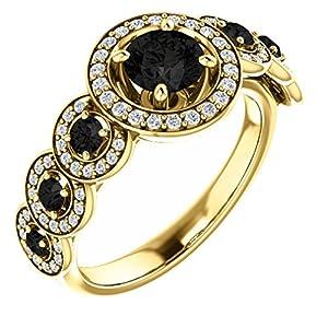 14K Yellow Gold Round Cut Black Diamond Engagement/Anniversary Ring - 1.3 Ct.