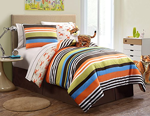 7 Pc Reversible Tiger Bed in a Bag, Twin Size Bedding, By Karalai Bedding Collection