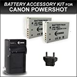 ClearMax NB-7L Lithium-Ion Battery Pack + Wall Charger + Car Charger + European Plug Adapter For Canon G12 & G11...