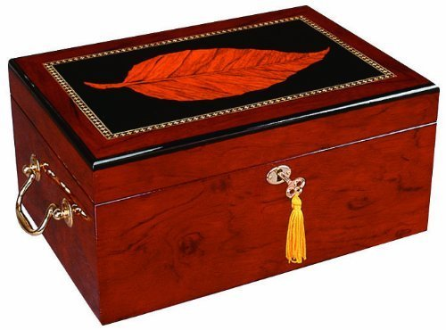 Quality Importers Deauville 100 Cigar Humidor, High Gloss with Tobacco Leaf Inlay, Maple Finish