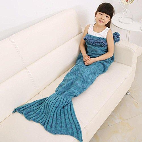 Caldo e Morbido per bambini maglia sirena coperta sacco a pelo letto divano salotto Falbala coperta per tutte le stagioni lake blue