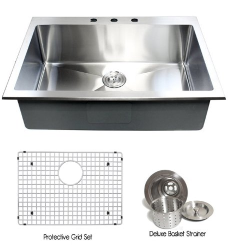 Compare Prices 33 Inch Top mount Drop in Stainless Steel Single