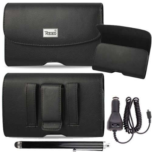 Horizontal Executive Leather Case With Magnetic Closure With Belt Clip And Belt Loops For Blu Dash 5.0. Comes With Stylus Pen And Car Charger.