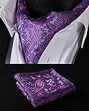 SetSense Mens Floral Paisley Jacquard Woven Self Cravat Tie Ascot Set