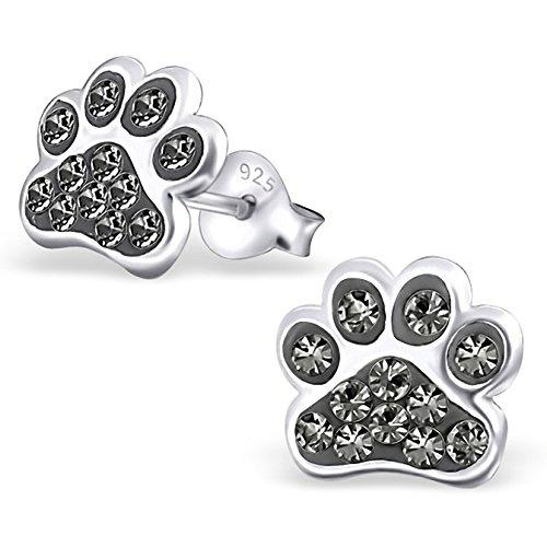 jayarer-boucles-doreilles-enfants-pattes-chiens-cristal-9-x-9-mm-argent-925-1000-diamond-noir-avec-e
