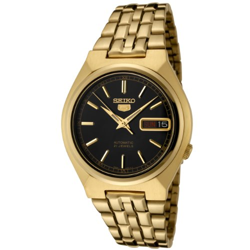 Seiko Men's SNK314K Gold Gold Tone Stainles-Steel Automatic Watch with Black Dial
