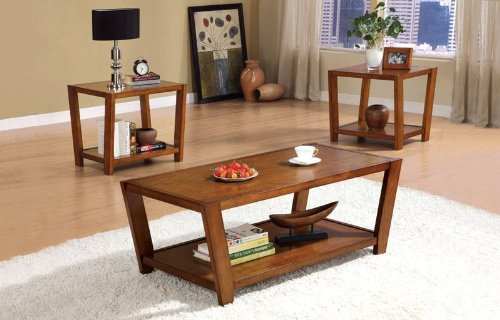 3PC Modern Wood Coffee Table Set With One Coffee Table, Two End Tables In Warm Brown Finish (Item# Vista Furniture CF701513)