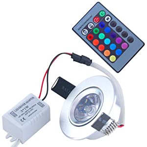 THG 10 X 100-240V 3W 16 Color CLIP Round Recessed 4 Modes Color Changing LED Ceiling Light for Xmas Foil Atmosphere with 24Keys IR Remote Control from Home Garden Yard lighting decorative accessories