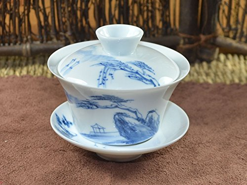 Jingdezhen Hand Painted White Porcelain Gaiwan 150Ml / 5Oz (Mountain And River)