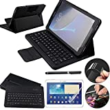 Galaxy Tab A 10.1 Keyboard Case with Screen Protector & Stylus, REAL-EAGLE Slim Separable Fit PU Leather Case Cover Bluetooth Keyboard For Tab A 10.1 Inch SM-T580 T580N T585 T585N,Black (Color: Black, Tamaño: Samsung Galaxy Tab A 10.1)