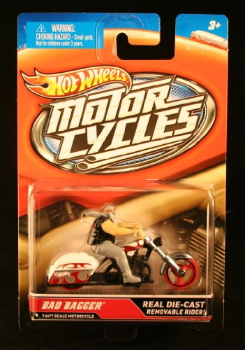 BAD BAGGER (White & Red) * MOTORCYCLE & RIDER * Hot Wheels 1:64 Scale 2012 Die-Cast Vehicle - 1