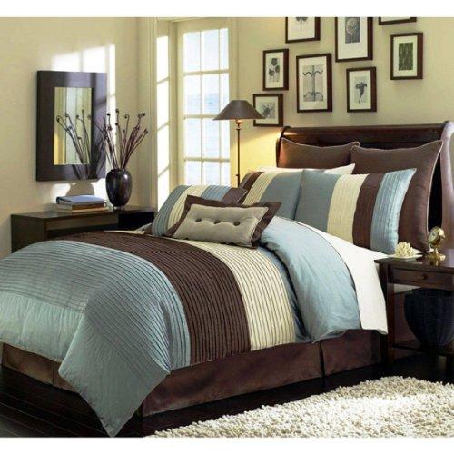 "8 Pieces Blue Beige Brown Luxury Stripe Comforter (90""X92"") Bed-In-A-Bag Set Queen Size Bedding"