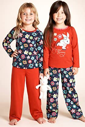 2 Pack - Younger Girls' Pure Cotton Floral Pyjamas With Toy