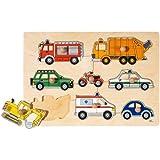 Goki 57996 - Puzzle con forma de vehículos (8 piezas)