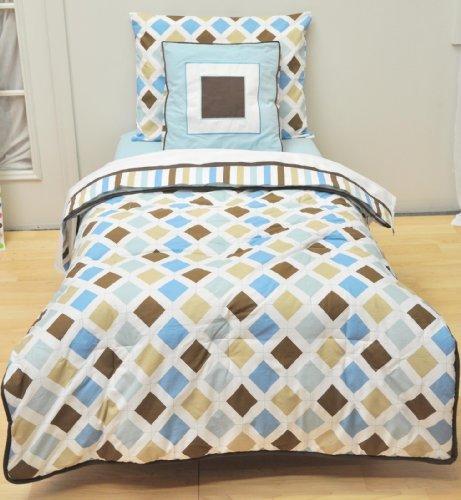 Imagen de MOD Dia / Aqua rayas y Chocolate 4pc Bedding Set para niños pequeños