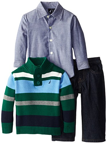 Nautica Baby-Boys Infant 3 Piece Multi Stripe Sweater Set, Hunter, 24 Months front-1013114