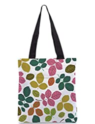 Snoogg Seamless Pattern With Leaf Designer Poly Canvas Tote Bag - B012FZ1ARY
