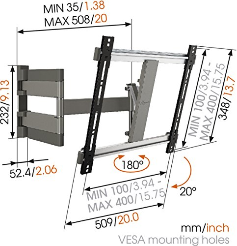 Vogels-THIN-Series-TV-Wall-Mount-Swivel-and-Tilt-THIN-245-26-55-inch-TV-GreyAluminium