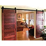 DIYHD 10ft Bent Straight Rustic Black Double Sliding Barn Door Hardware (10ft Track Kit)