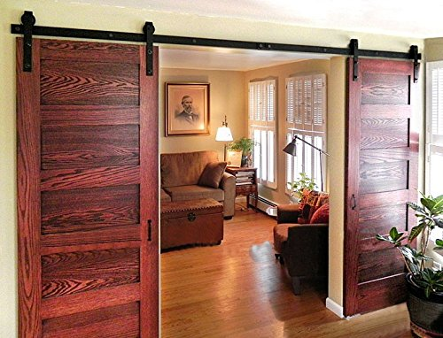 10ft Bent Straight Rustic Black Double Sliding Barn Door Hardware (10ft Track Kit) (Barn Door Track Hardware compare prices)