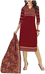 Pranjul Women'S Cotton Unstitched Dress Material (Red) (PR527)