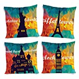 ShopMantra World Tour Collection Printed Cushion Cover Set Of 4 16*16 Inch Multicolor Cushion Cover