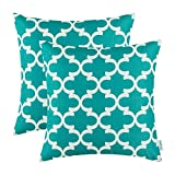 Pack of 2 CaliTime Throw Pillow Covers 18 X 18 Inches, Quatrefoil Accent Geometric, Teal