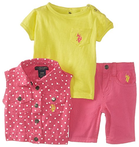U.S. Polo Assn. Baby-Girls Newborn T-Shirt With Denim Vest And Jean Set, Pink Kite, 6-9 Months