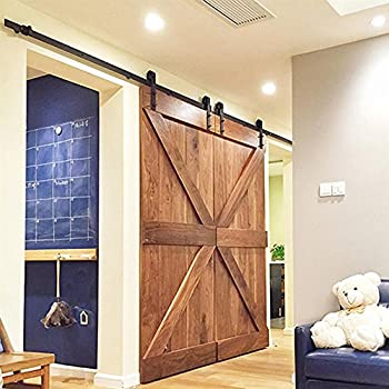 Yaheetech 12Ft Black Antique Style Double Sliding Barn Wood Door Closet Hardware Track Kit System Set