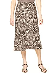 Classic Collection Woodblock Print Skirt with Linen