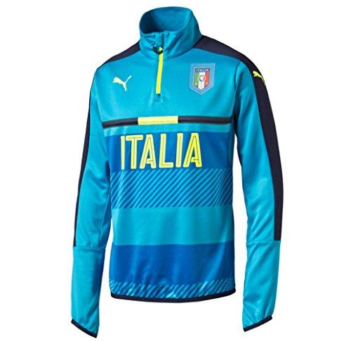 Maglietta maniche lunghe da uomo PUMA FIGC Italia 1/4 Zip Top da allenamento Blu Atomic Blue-Peacoat S
