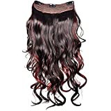 Majik Curley Wavy Synthetic Red Brown Hair Extension 24 Inches For Women Hair Styling, Hair Do (DIY)