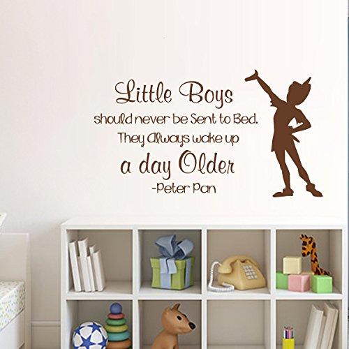 peter pan zitate wandtattoo kleine jungen sollten sie niemals gesendet werden um sie aufwachen. Black Bedroom Furniture Sets. Home Design Ideas